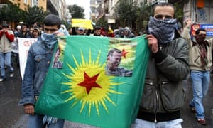 Istanbul proest with outlawed Kurdistan Workers Party flag