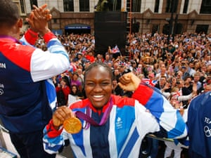 Another lovely shot of boxer Nicola Adams holding her gold medal.