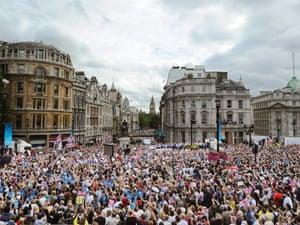 And the scene in Trafalgar Square.
