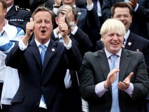 David Cameron and Mayor of London Boris Johnson cheer on the Olympic athletes.