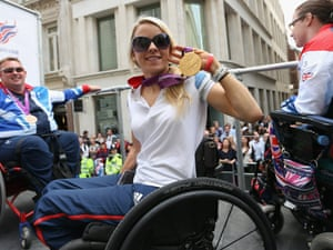Paralympics F51 gold medal winner in the discus, Josie Pearson holds her Gold medal