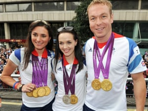 Cyclists Sarah Storey, Victoria Pendleton and Sir Chris Hoy and quite a few medals!