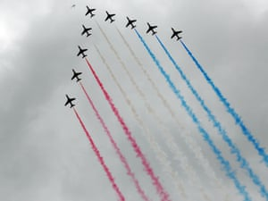 A view of the fly past by the Red Arrow from the ground