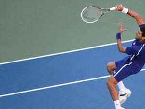 Novak Djokovic contorts