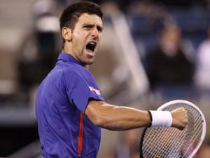 Novak Djokovic celebrates a point