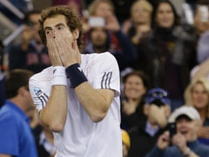 Andy Murray reacts after winning US open