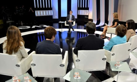 A Prime Minister's Office handout picture shows Spanish Prime Minister Mariano Rajoy (C) answers journalists questions during an interview on the national Spanish Public Television (TVE) in Madrid, Spain, 10 September 2012.