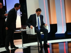 Spain's Prime Minister Mariano Rajoy sits on a chair as he prepares for an interview on the national Spanish Public Television in Madrid September 10, 2012.