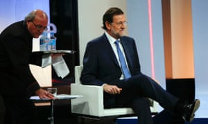 Spanish Prime Minister Mariano Rajoy waits for the start of an interview on the national Spanish Public Television in Madrid September 10, 2012.