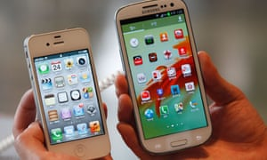 A Samsung Galaxy S3 pictured next to an iPhone 4S