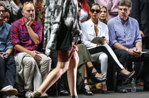 new york fashion week: Michael Stipe and Alicia Keys attend the Edun show