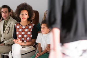 new york fashion week: Solange Knowles  and children attend the Tibi show