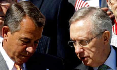 House speaker John Boehner talks to Senate majority leader Harry Reid
