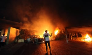 The blaze at the US consulate in Benghazi after it was attacked by an armed group on September 11, 2012. Photograph: Reuters/Esam Al-Fetori
