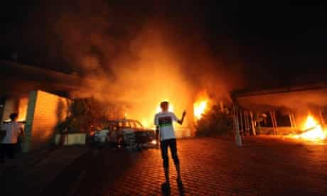 The U.S. Consulate in Benghazi is seen in flames during a protest by an armed group said to have been protesting a film being produced in the United States September 11. An American staff member of the U.S. consulate in the eastern Libyan city of Benghazi has died following fierce clashes at the compound, Libyan security sources.