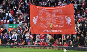 A banner in memory of those who died in the Hillsborough tragedy at Anfield.
