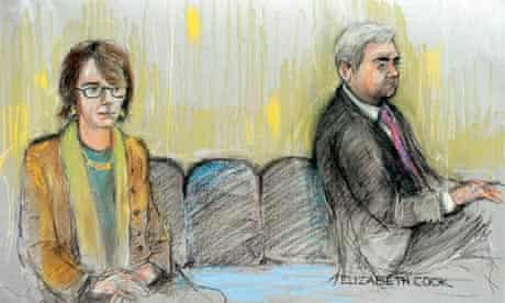 Court picture of Vicky Pryce and Chris Huhne