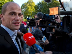 Labour Party PvdA leader Diederik Samsom is interviewed after casting his vote for parliamentary elections in Leiden, central Netherlands, Wednesday Sept. 12, 2012.