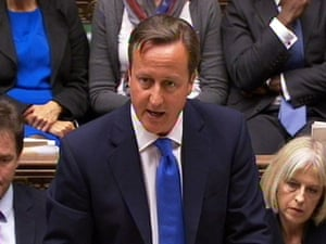 David Cameron delivers his Commons statement on the Hillsborough report, flanked by deputy PM Nick Clegg and the home secretary, Theresa May