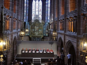Hillsborough Independent Panel members answer questions at a press conference at Liverpool's Anglican cathedral.