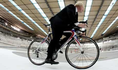 London mayor Boris Johnson in the velodrome
