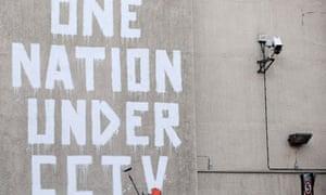 File photo of street graffiti by elusive graffiti artist Banksy in central London