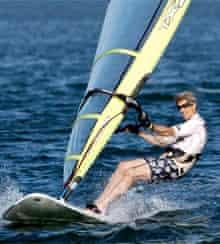 John Kerry windsurfing in Nantucket, 2004