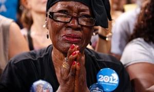 Mona Renee Johnson weeps as President Barack Obama speaks at a campaign rally last night in Las Vegas, Nevada.