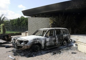 Libya protests: A damaged vehicle at the US consulate in Benghazi