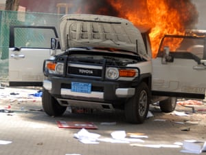 A car was set a light at the US embassy embassy in the Yemeni capital Sana'a.