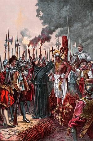 Ten best: Spanish conquerors under Pizarro burning the Inca chief Atahualpa to death