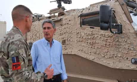 British defence minister Philip Hammond at Camp Bastion
