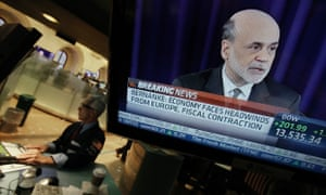 Specialist David Pologruto works at his post on the floor of the New York Stock Exchange, as Federal Reserve Chairman Ben Bernanke holds a news conference in Washington, Thursday, Sept. 13, 2012.