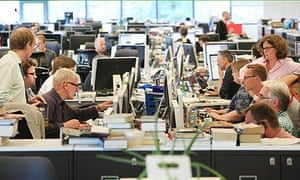 The guardian newsroom on a busy afternoon
