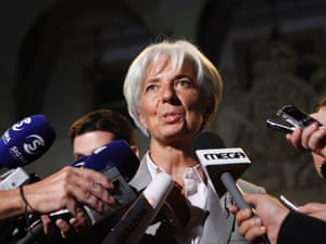 International Monetary Fund (IMF) Managing Director Christine Lagarde speaks to the media after meeting with Cyprus' president Dimitris Christofias, unseen, at the presidential palace in capital Nicosia, Cyprus, Thursday, Sept. 13, 2012.