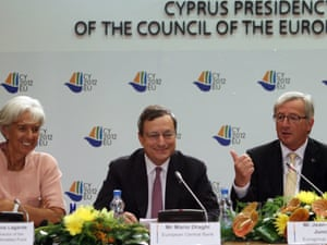 Eurogroup Chairman, Jean-Claude Juncker (L), International Monetary Fund (IMF) managing director Christine Lagarde (L), President of the European Central Bank (ECB) Mario Draghi (2L) address a news conference at the European Union Economic and Financial Affairs Council (ECOFIN) meeting in Nicosia, Cyprus, 14 September 2012.