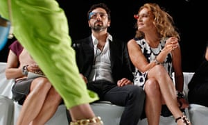 Google founder Sergey Brin and designer Diane von Furstenberg wearing new Google glasses