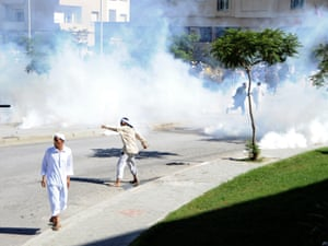 Demonstrators protest outside the US embassy on Friday. Police responded to protesters throwing stones with teargas.