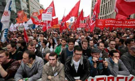 Opposition supporters take part in a protest rally in Moscow