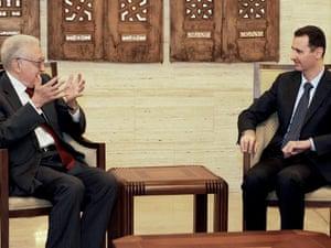 Syrian President Bashar al-Assad met international envoy Lakhdar Brahimi in Damascus, on 15 September 2012.