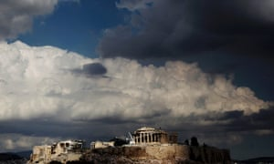 Dramatic skies over Acropolis hill with the Parthenon temple, in Athens as Greece's government is trying to finalize an 11.5 billion euro austerity package required for continued emergency rescue loans. Unions are angry at the new cuts and have called a general strike.