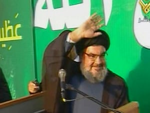 Lebanon's Hezbollah-run Manar TV shows Hezbollah chief Hassan Nasrallah waving to crowds as he makes a rare appearance to deliver a speech during a rally denouncing a low-budget US-made film mocking Islam.