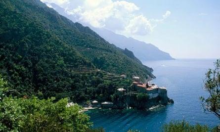 Mount Athos monastery and coastline, Greece.