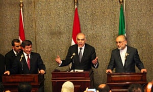 Egyptian foreign minister Mohamed Kamel Amr, Ali-Akbar Salehi and Ahmet Davutoglu