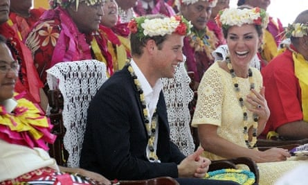 Suits you sir! Prince William and Catherine, the Duchess of Cambridge, share a laugh in traditional headwear on their arrival in Funafuti in Tuvalu. Nearly half the population of 10,500 turned out to greet the couple.
