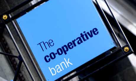 Co-operative bank sign hanging outside a London branch