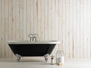 Faking it interiors: Bathroom, scrapwood wallpaper (ref PHE-8) by Piet Hein Eek