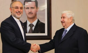 Syria's foreign minister Walid al-Moualem meets his Iranian counterpart Ali Akbar Salehi in Damascus after proposing to send monitors to Syria as part of a nine-point peace plan.