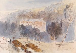 Edward Lear: Monastery of Konstamonitou by Edward Lear