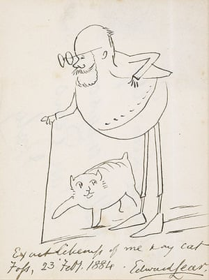 Edward Lear: Exact likeness of me & my cat by Edward Lear